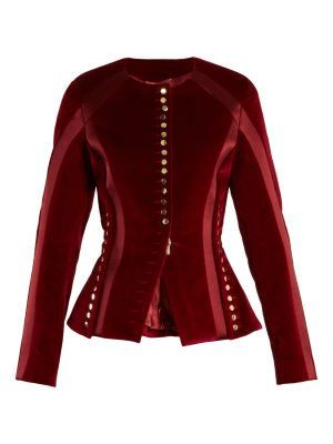 Altuzarra Cavendish collarless stretch-cotton velvet jacket
