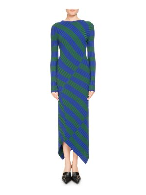 Altuzarra Whistler Asymmetric Wide-Stripe Fitted Knit Dress