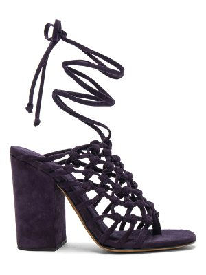 ALUMNAE Knotted Suede Wrap Block Heels