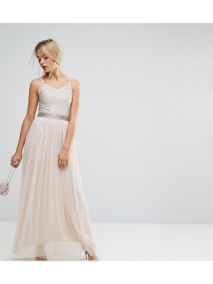 Amelia Rose Maxi Cami Strap Dress with Tulle Skirt and Embellished Upper
