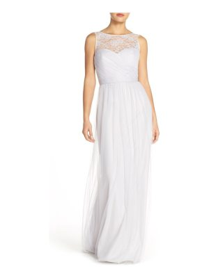 Amsale 'chandra' illusion yoke lace & tulle gown