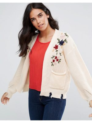 Amy Lynn Cardigan With Floral Embroidery And Pocket Detail