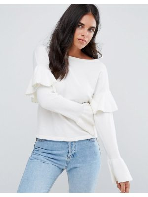 Amy Lynn Sweater With Frill Sleeve Detail