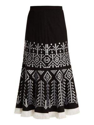 ANDREW GN Aztec-embroidered wool-blend midi skirt
