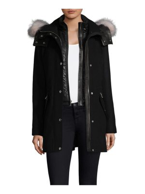 Andrew Marc hooded wool dyed fur-trim parka