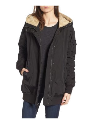 Andrew Marc nina hooded jacket with faux fur trim