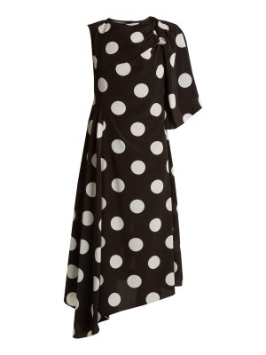 Anna October Asymmetric polka dot-print crepe de Chine dress