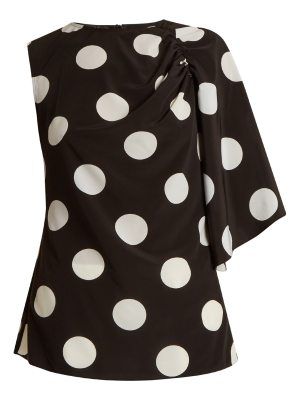 Anna October Asymmetric polka dot-print crepe de Chine top