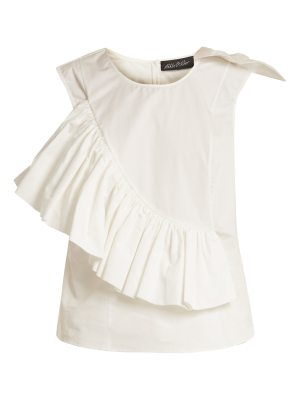 Anna October Crew-neck ruffle-trimmed sleeveless cotton top