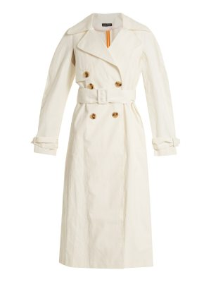 Anna October Double-breasted coated linen-blend trench coat