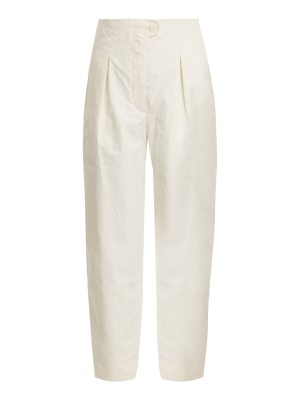 Anna October High-rise pleated coated linen-blend trousers