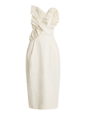 Anna October Ruffle-trimmed strapless coated linen-blend dress