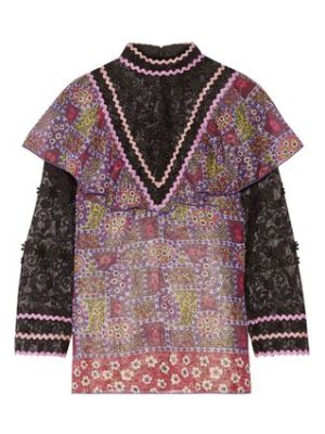 Anna Sui embroidered tulle and printed silk