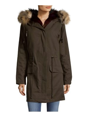 Annabelle New York Hooded Cotton Fox Fur Parka With Vest Insert