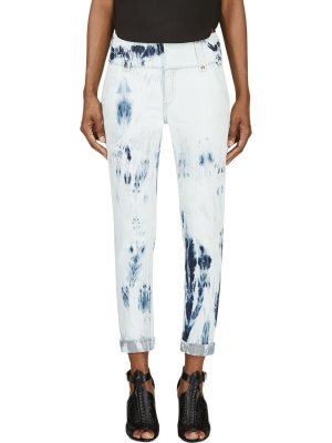 Anthony Vaccarello Bleached Denim Cropped Jeans