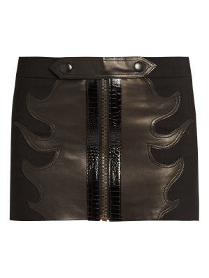 Anthony Vaccarello Leather-flame wool mini skirt