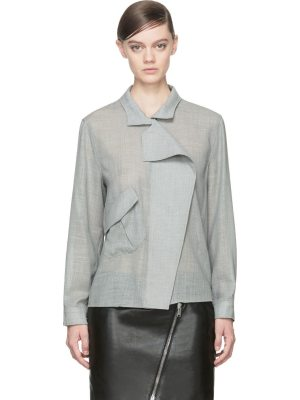 Anthony Vaccarello Wool Angled Pocket Blouse