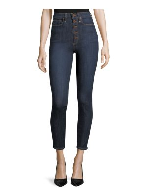 AO.LA by Alice+Olivia High-Rise Exposed Buttons Skinny-Leg Jeans