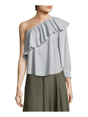 APIECE APART bergamot ruffled one-shoulder top