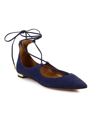 Aquazzura christy suede lace-up flats