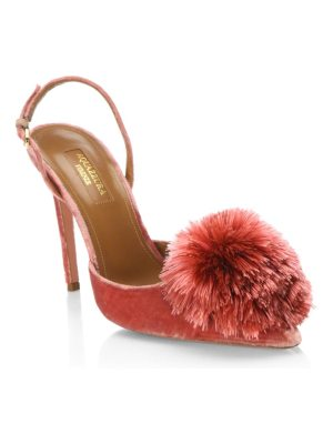 Aquazzura powder puff velvet slingback pumps