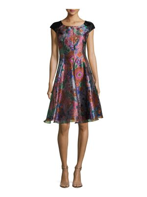 Armani Collezioni Floral Jacquard Cap-Sleeve Fit & Flare Dress