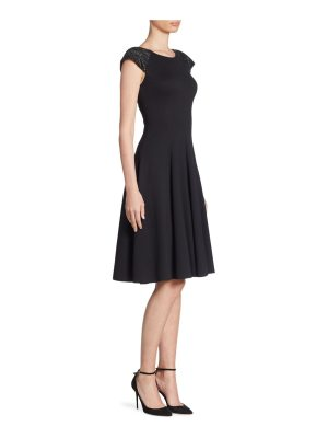 Armani Collezioni milano jersey beaded shoulder fit and flare dress