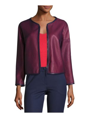 Armani Collezioni Perforated Leather Zip-Front Jacket