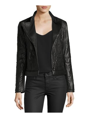 Armani Jeans Floral-Quilted Leather Moto Jacket