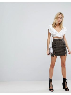 ARRIVE AFRM Lace Up Denim Mini Skirt