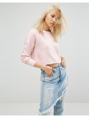 ARRIVE Cropped Raw Edge Sweat with Rip Detailing