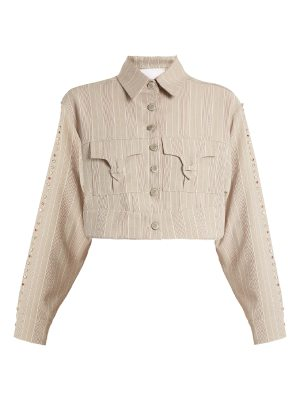 ART SCHOOL Blow crystal-embellished cotton cropped jacket