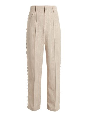 ART SCHOOL Blow crystal-embellished wide-leg cotton trousers