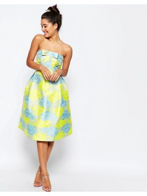ASOS Bandeau Floral Midi Prom Dress With Bow