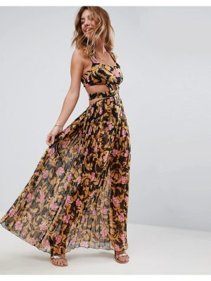 ASOS Beach Cut out Pleated Maxi in Baroque Rose Print