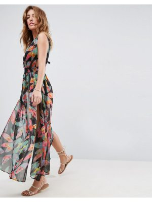 ASOS Beach Deep Plunge Tie Side Maxi With Splits in Photographic Palm Print