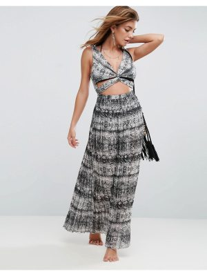 ASOS Beach Maxi Dress in Mono Snake With Pleat Skirt