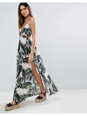 ASOS Beach Maxi Dress With Strap Detail in Mono Palm Print