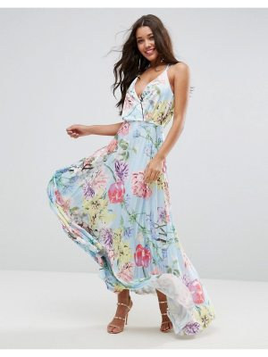 ASOS Blouson Floral Pleated Wrap Maxi Dress