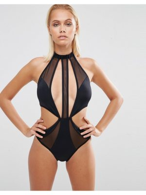 ASOS Choker Mesh Strappy Cut Out Swimsuit