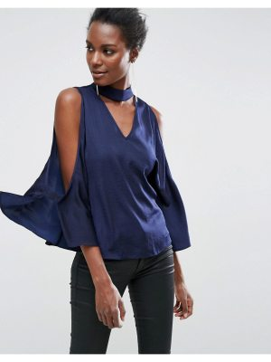 ASOS Cold Shoulder Satin Swing Top with Deep Plunge and Choker Detail