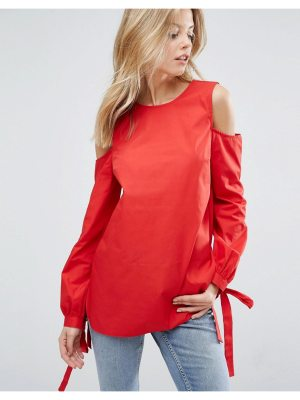ASOS Cold Shoulder Top in Cotton with Tie Cuff Detail