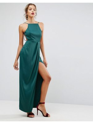 ASOS Drape Front Delicate Back Satin Maxi Dress