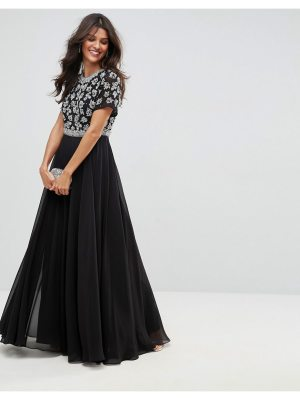 ASOS Floral Embellished Short Sleeve Maxi Dress