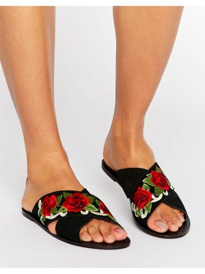 ASOS FOLKLORE Suede Embroidered Sliders