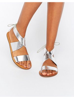 ASOS FRECKLES Leather Lace Up Flat Sandals