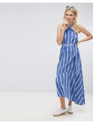ASOS Halter Neck Maxi Dress in Mixed Cotton Stripe