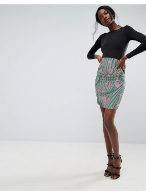 ASOS High Waist Corset Mini Skirt in Print