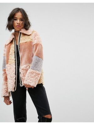ASOS Jacket in Patchwork Faux Fur