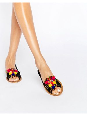 ASOS DESIGN asos jeana suede pom embellished summer shoes